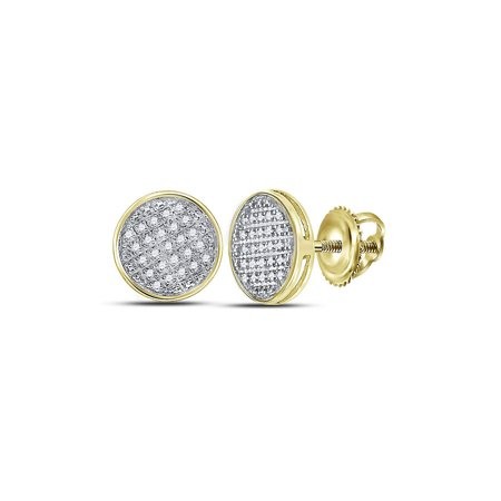 Solid 10k Yellow Gold Men's Round Diamond Circle Disk Cluster Earrings 1/8 Ct.