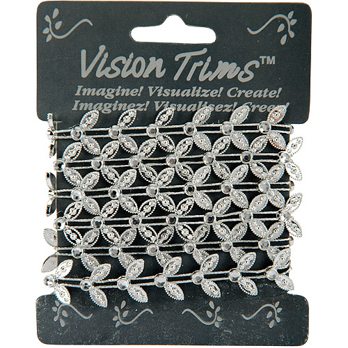 Vision Trims Geinuine Rhinestone Trim Leaf 36-Silver Multi-Colored