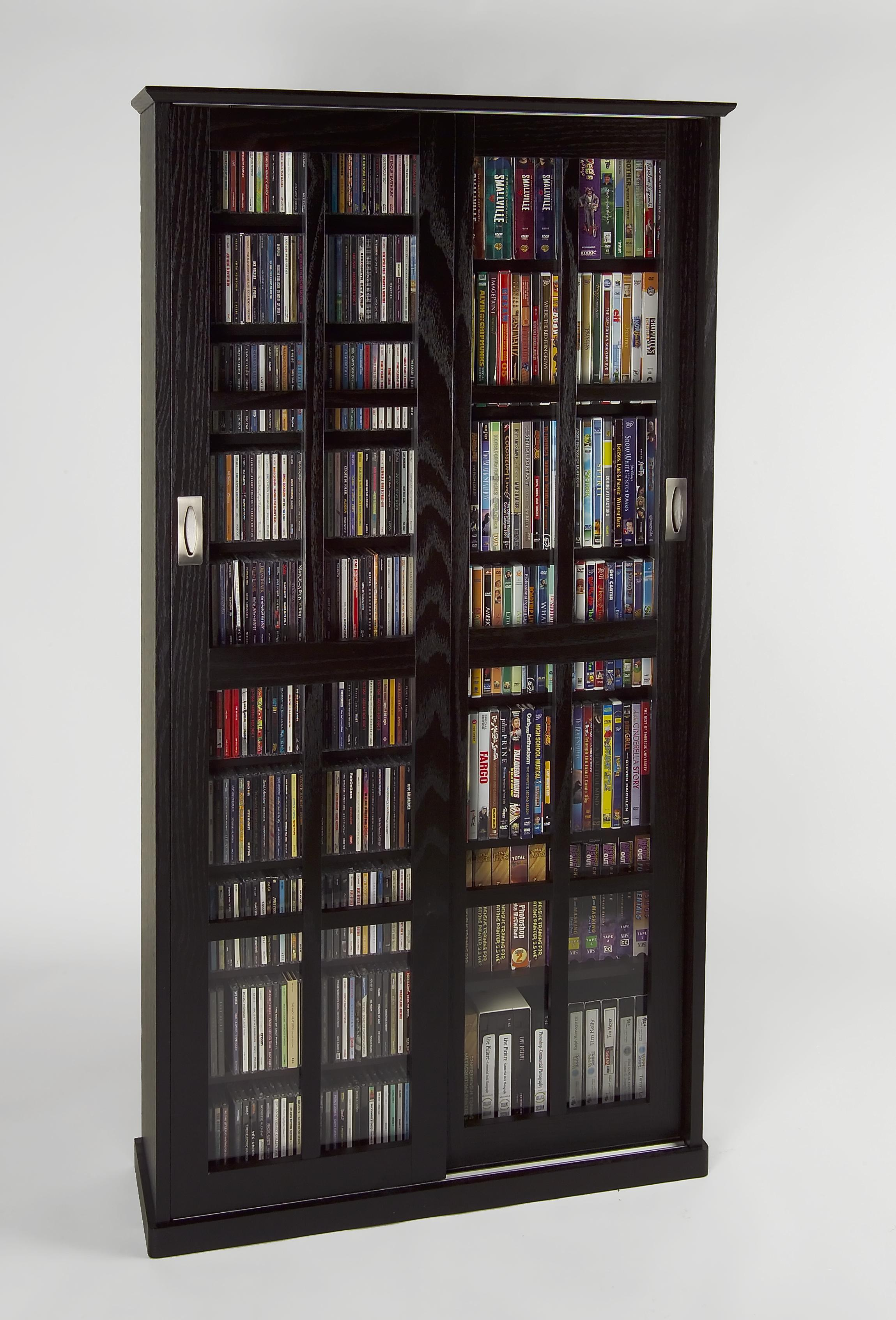Sliding Door Inlaid Glass Mission Media Cabinet (MS-700 Series)-Finish:Walnut by Leslie Dame