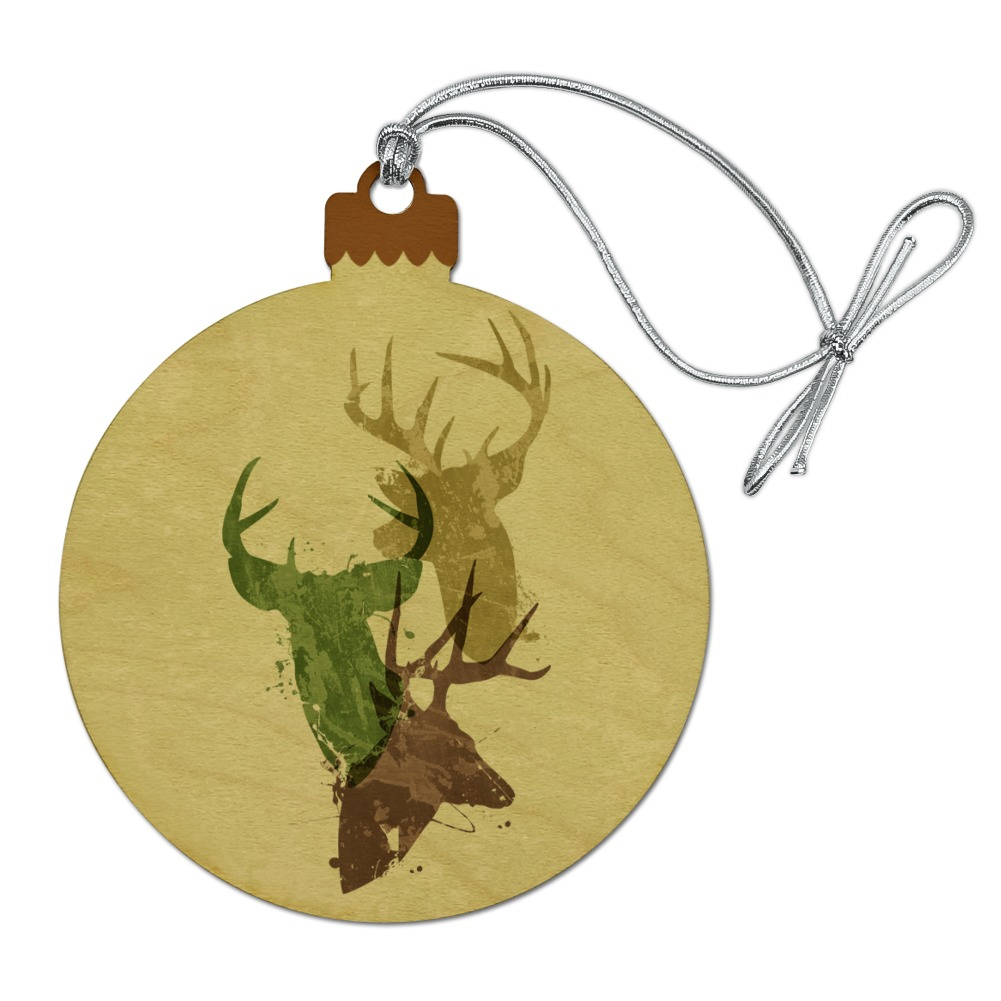 Deer Heads Trio Design Hunting Hunter Camouflage Wood Christmas Tree Holiday Ornament
