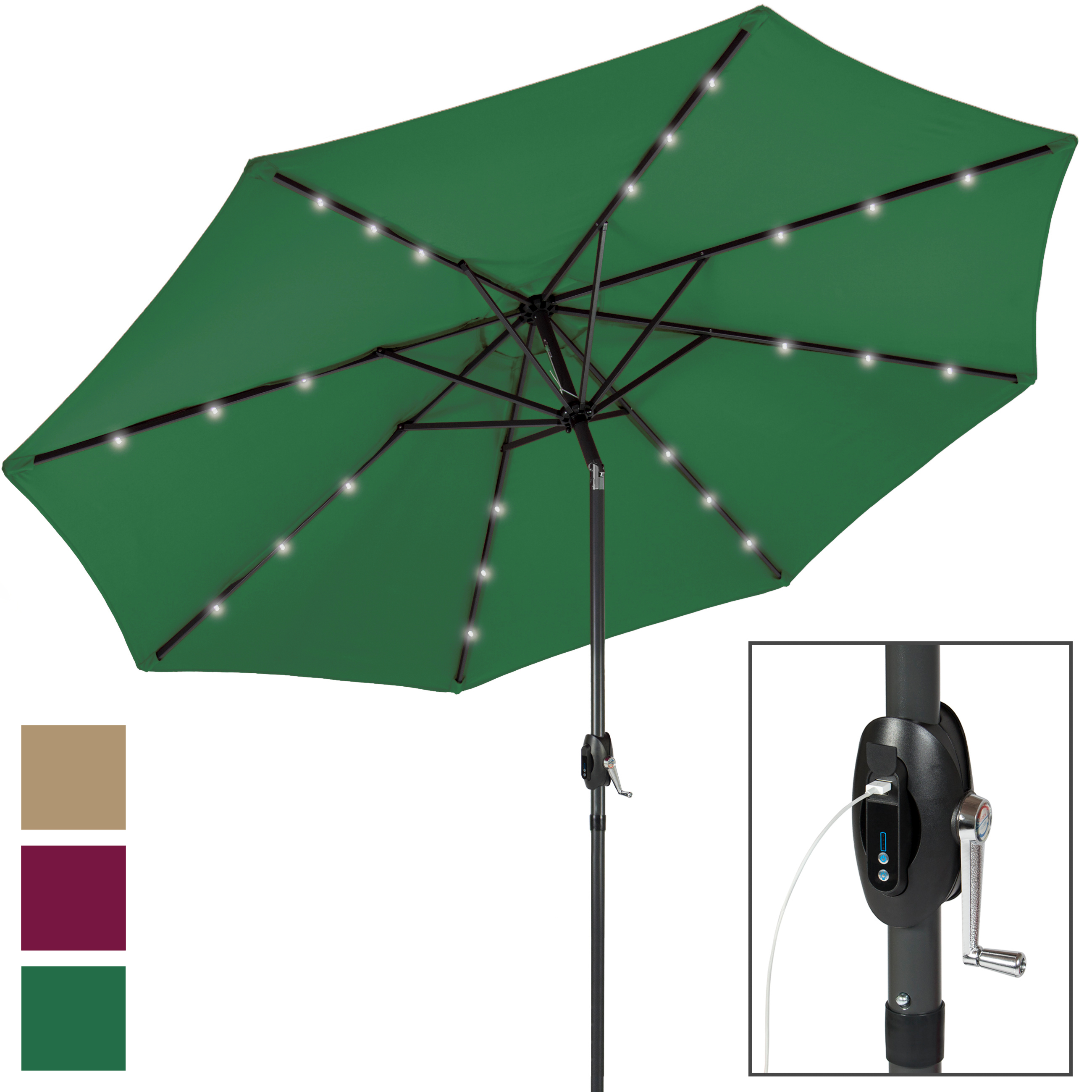 Portable USB Charger Bank 10' LED Light Patio Solar Umbrella Tilt Adjustment