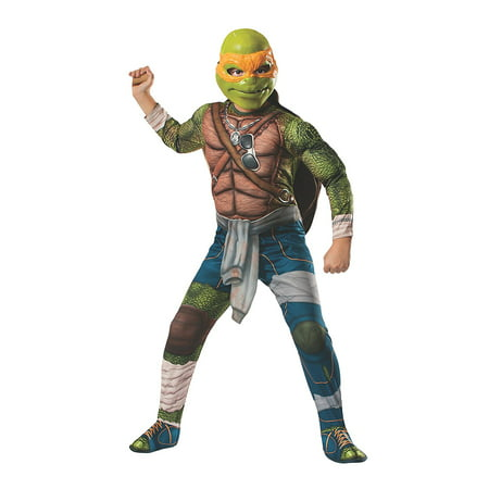 Teenage Mutant Ninja Turtles Boys Deluxe Michelangelo Costume - Teenage Mutant Ninja Turtle Muscle Halloween Costume