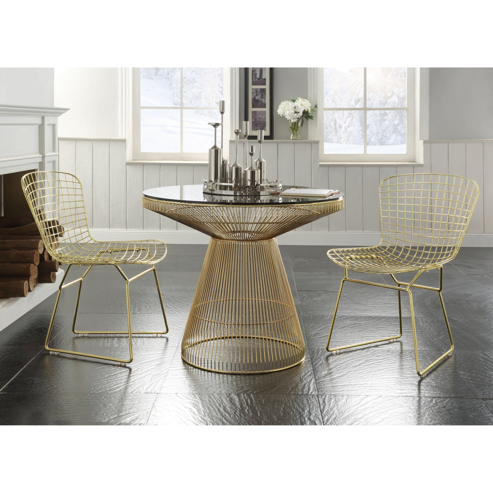 Acme Rianne Gold Round Dining Table