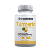 Phorward Labs Turmeric with Ginger and BioPerine, 1100mg, 60ct, Joint Support, Digestive and Total Health Supplement