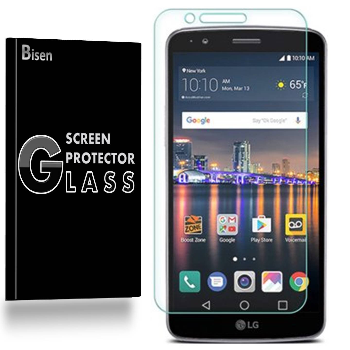 LG Stylo 3 Plus (2017 Release) [1-Pack, BISEN] 9H Tempered Glass Screen Protector, Anti-Scratch, Anti-Shock, Shatterproof, Bubble Free