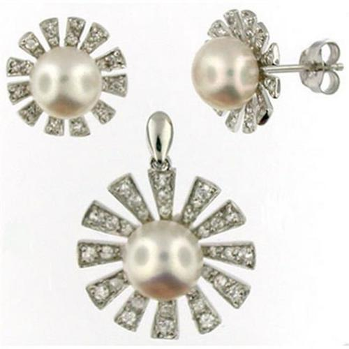 Doma Jewellery SSTL030W Sterling Silver FWP Earring Pendant Set-White