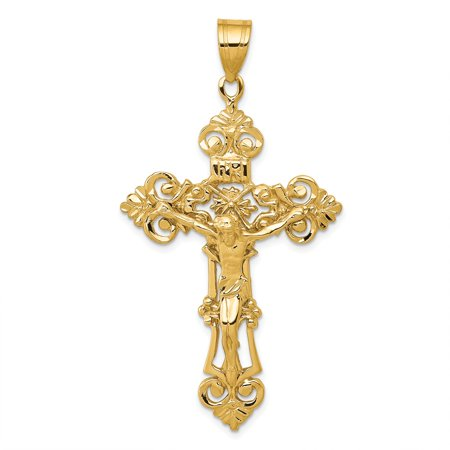 (Solid 14k Yellow Gold INRI Fleur De Lis Crucifix Cross Pendant (31mm x 57mm))