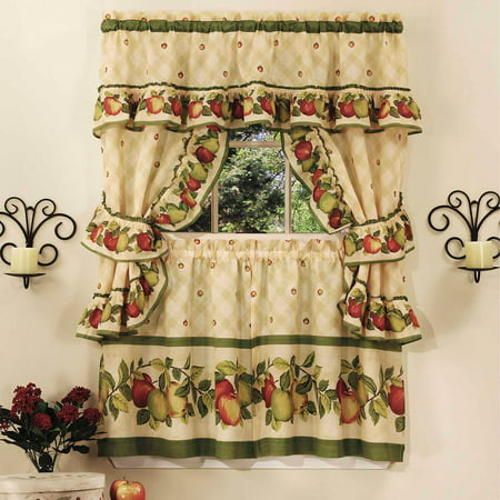 Remarkable Cottage Kitchen Curtain And Swag Set Apple Orchard Home Remodeling Inspirations Genioncuboardxyz
