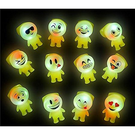 50 Bright Flashing Emoji Emoticon Buddy LED Rings WHOLESALE LOT BY TM, BRIGHT LED By DISCOUNT PARTY AND NOVELTY - Wholesale Novelty Items