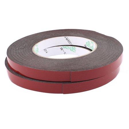 2PCS 1.2CM Width 10M Long 1MM Thick Dual Sided Seal Shockproof Sponge Tape Black