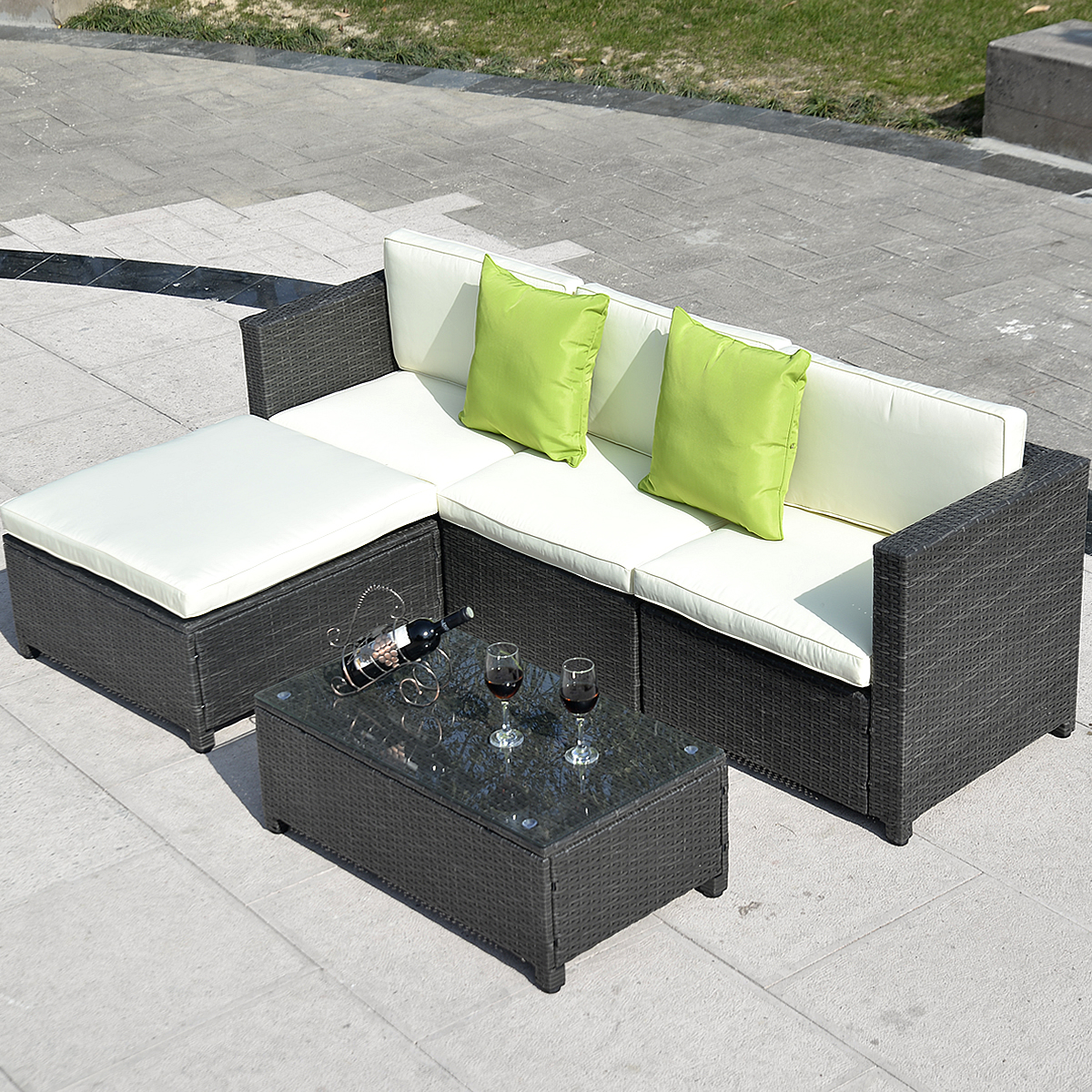 Costway Outdoor Patio 5pc Furniture Sectional Pe Wicker Rattan Sofa Set  Deck Couch Black (Black)   Walmart.com