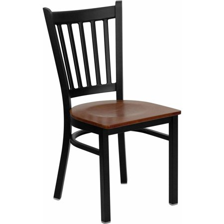 Flash Furniture HERCULES Series Black Vertical Back Metal Restaurant Chair, Wood Seat, Multiple Colors Color Slat Back Chair