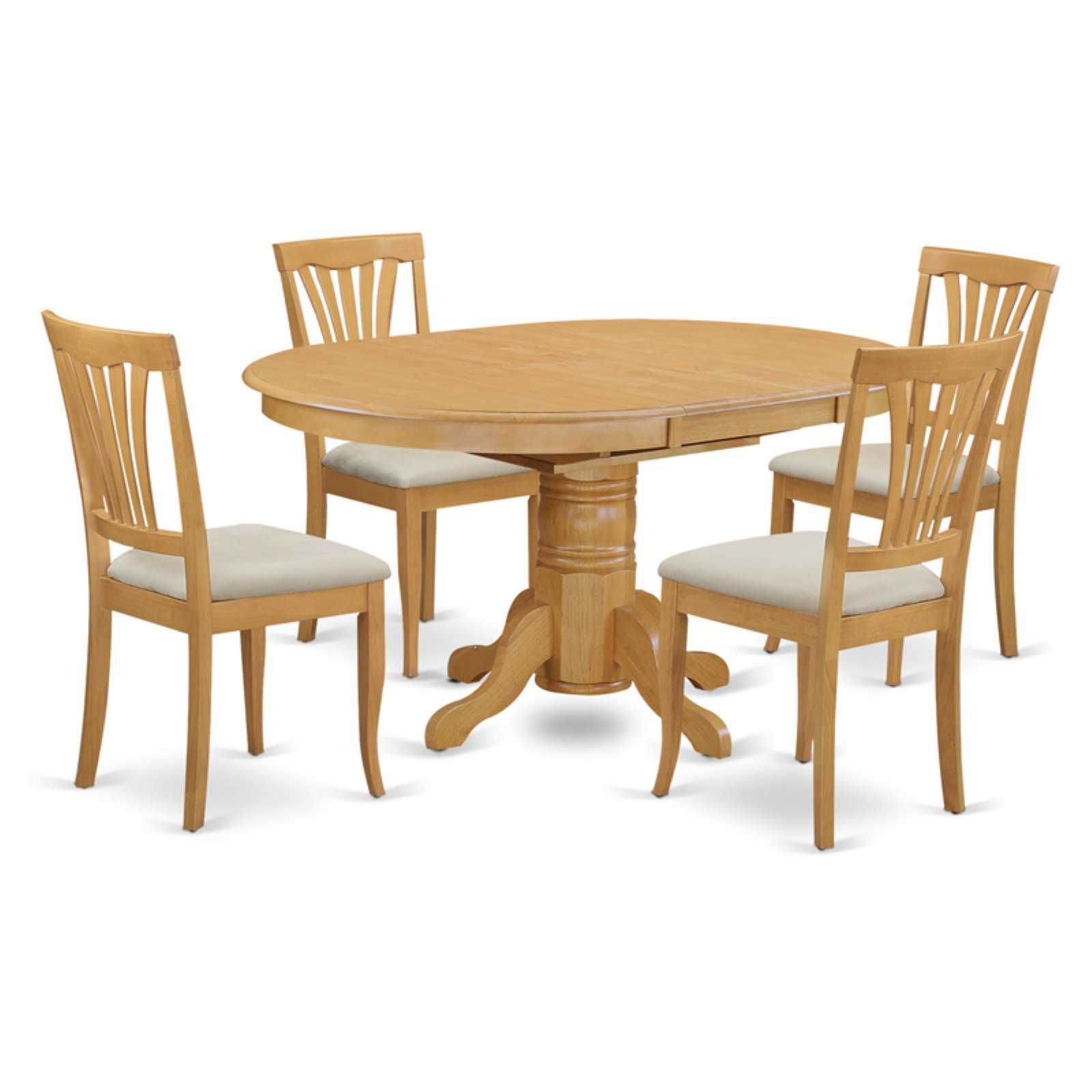 East West Furniture Avon 5 Piece Pedestal Oval Dining Table Set with Microfiber Seat Chairs