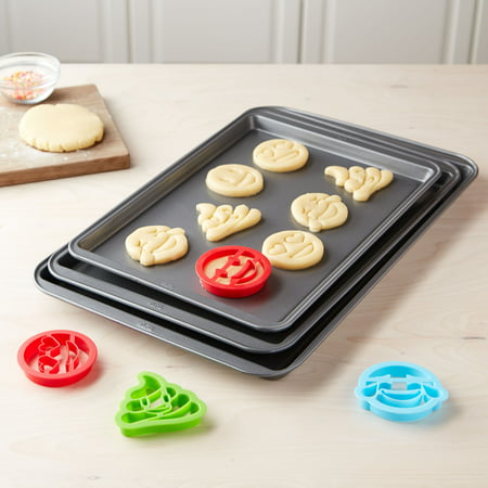 tasty 3pc cookie sheet set with 4 cookie cutters - Christmas Cookie Cutters Walmart