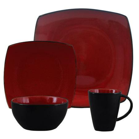 Gibson Home Soho Lounge Square Stoneware 16 Piece Dinnerware Set