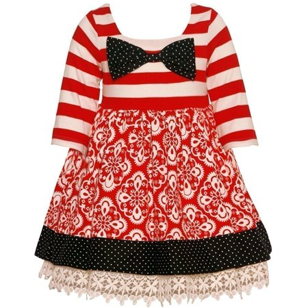 e647d9d95c6 Counting Daisies - Counting Daisies Little Girls Red Stripe Motif Print Bow  Christmas Dress - Walmart.com