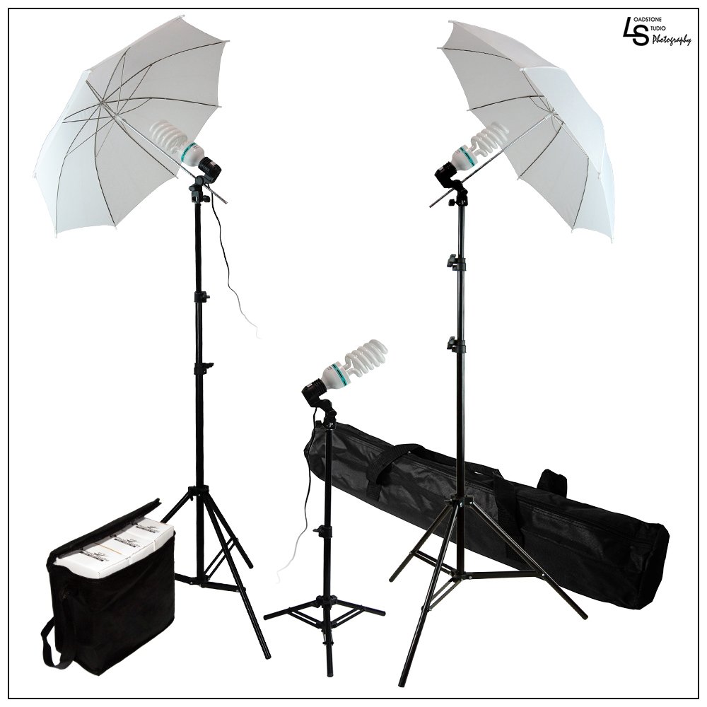 "600W Photo Video Light Kit 6500K Daylight Balanced Continuous Lighting with 3x 45W CFL Bulb, 2x 33"" White Umbrella by Loadstone Studio WMLS0162"