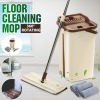 Kitchen + Home Wash & Dry Mop , Self Cleaning Flat Mop and Bucket System with 2/4/6Pcs Reusable Microfiber Mop Pads for Wet and Dry Mopping on All Floor Surfaces