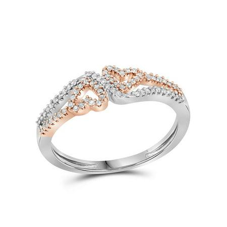 10kt White Gold Womens Round Diamond 2-tone Heart Love Ring 1/5 Cttw - image 1 de 1