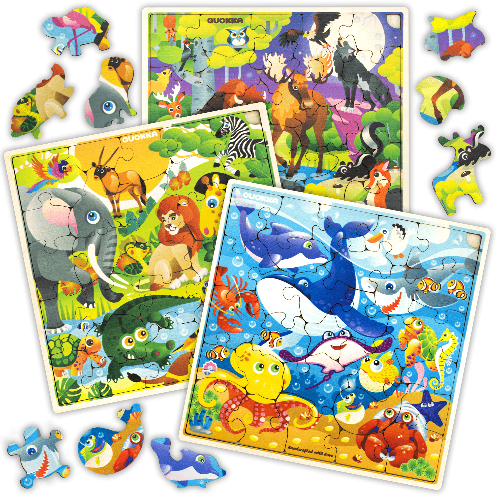 Wooden Jigsaw Puzzles for Kids Ages 4-8, 3 Pack Puzzles ...