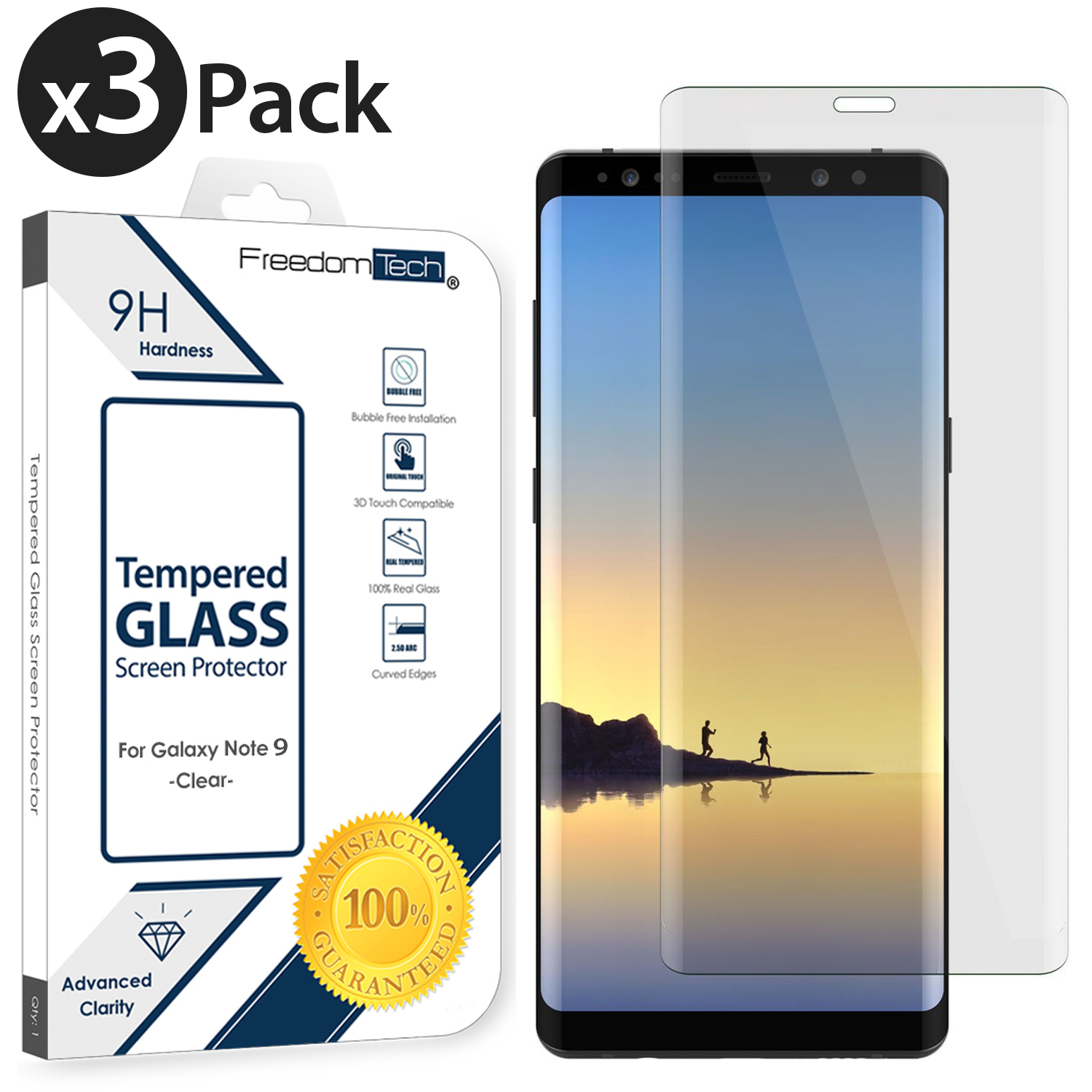 SGIN Galaxy Note 9 Screen Protector, Transparent HD Clear for Samsung Galaxy Note 9 Tempered Glass Screen Protector Anti-Fingerprint Bubble Free 9H Hardness Protector Film Crystal Clear 2 Pack
