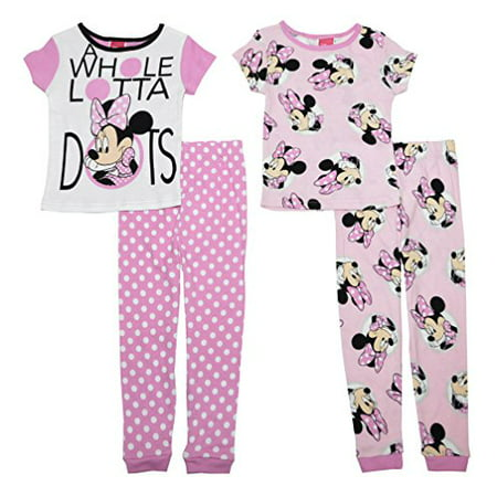 Disney Minnie A Whole Lotta Dots Girls 4- Piece Cotton Pajama Set Size 8 - Girls Size 8 Pajamas