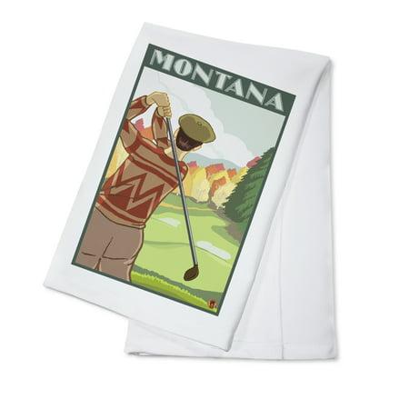 - Golfer Scene - Montana - LP Original Poster (100% Cotton Kitchen Towel)