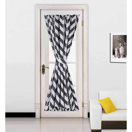(MEME)1pc BLACK Chevron Printed Mix Color French Door Foam Backing Insulated Thermal Blackout Rod Pocket Curtain Panel with Tieback 55