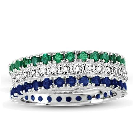 Tanzanite Emerald Eternity Ring (14K White Gold Diamond Emerald Sapphire Eternity Band Ring (Set of)