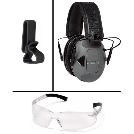Peltor Sport RangeGuard Electronic Hearing Protector Earmuff Ear Muff NRR 21 dB + Ultimate Arms Gear Shooting Clear Lens Safety Glasses Eye Eyewear Protection + Headsets & Glasses Belt Clip Holder