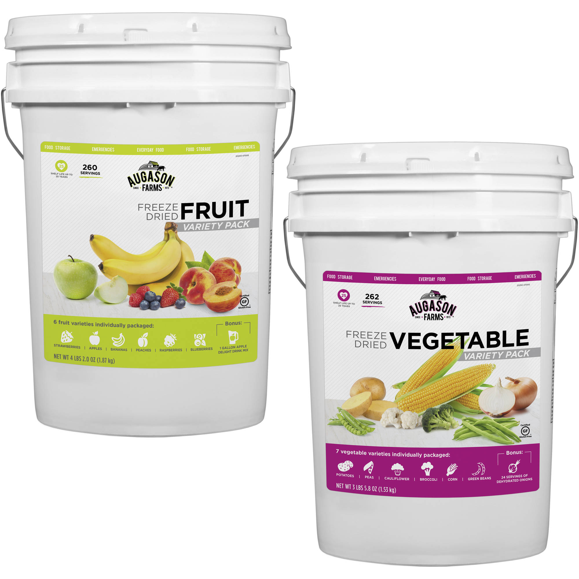 Augason Farms Freeze Dried Fruit/Vegetable Combo Food Storage Pails, 2 count