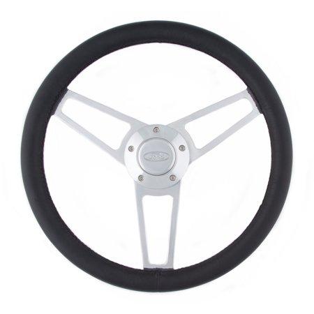 Grant 1903 Billet Series Leather Wheel; 14.75 in. Diameter; 3-Spoke Design; Black; Billet Aluminum Spokes; Ford Logo;