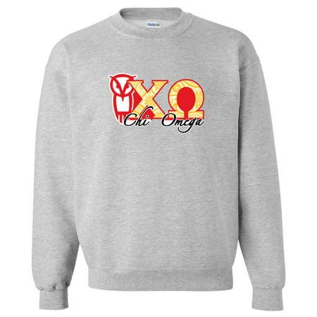 Chi Omega Sport Gray Crewneck Sweatshirt Greek Letter Design