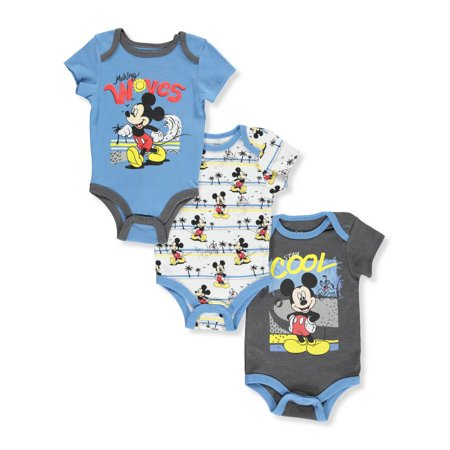 Disney Mickey Mouse Baby Boys' 3-Pack Bodysuits - Mickey Mouse Dress Up For Babies