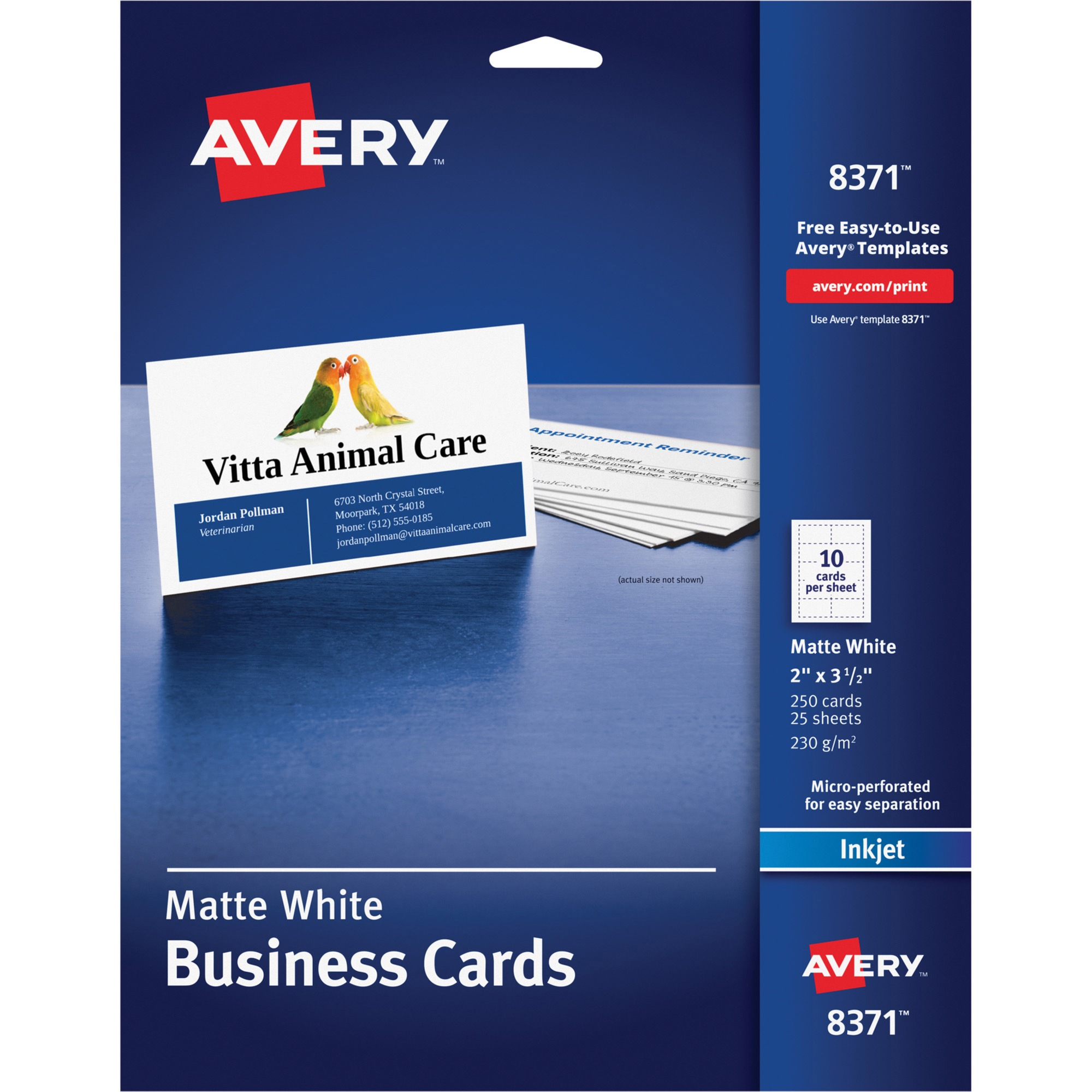Inkjet Microperforated Business Cards
