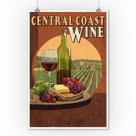 Central Coast, California - Wine Vintage Sign - Lantern Press Poster (9x12 Art Print, Wall Decor Travel Poster) - Halloween Parties Central Coast