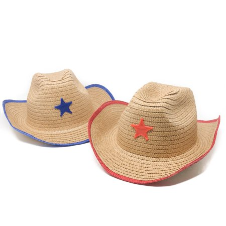 12 Piece Kids Cowboy Hats with Sheriff Star - Western Straw Hats (Cheap Cowboy Hats For Kids)