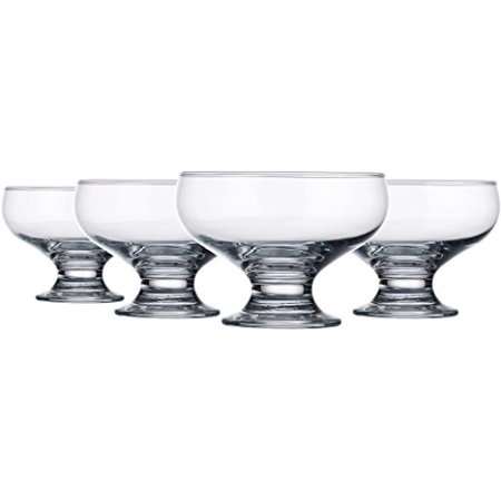 Palais Glassware High Quality Clear Glass 8 Ounce Dessert Ice Cream Bowls, Set of 4