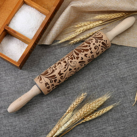 Mallroom Kitchen Wooden Rolling Pin Engraved Carved Embossed Wood Rolling Pin Tool ()