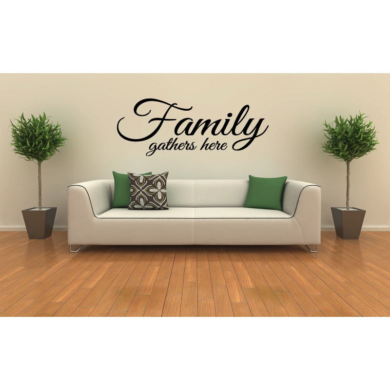 Family Gathers Here quote Wall Art Sticker Decal