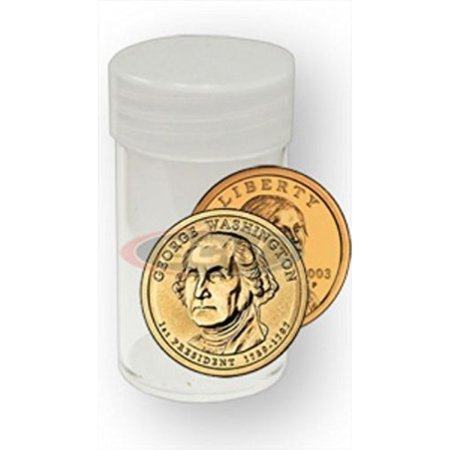 COIN STORAGE TUBES, round clear plastic w/ screw on tops for Small dollar coin / Sacagawea / Presidential (10 tubes)