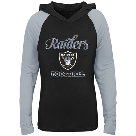 Oakland Raiders Revolution - Girls Youth Black/Silver Oakland Raiders Hooded Long Sleeve T-Shirt