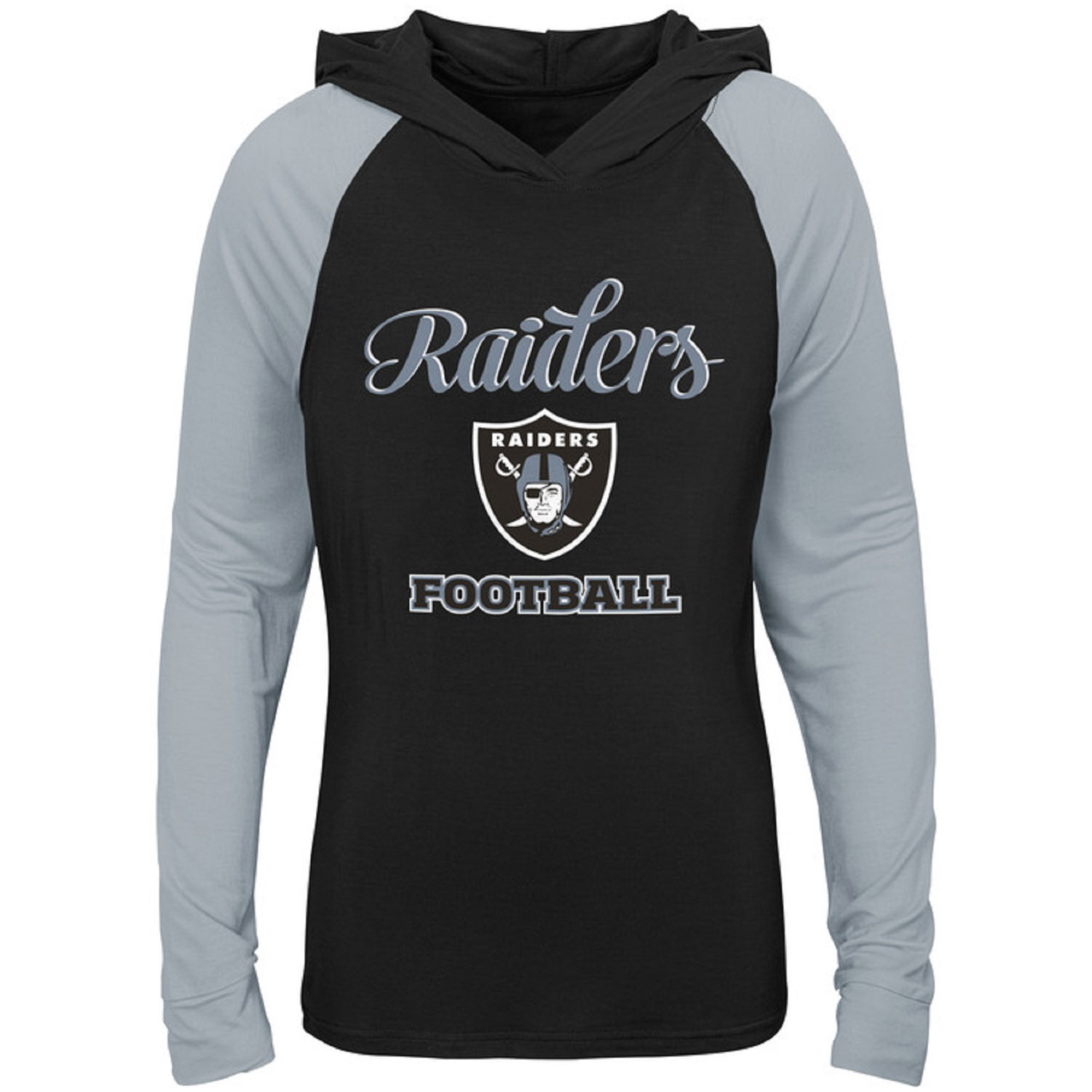 Girls Youth Black/Silver Oakland Raiders Hooded Long Sleeve T-Shirt