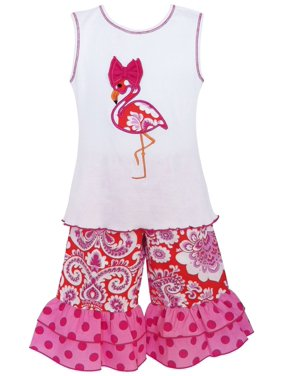 AnnLoren Little Girls White Hot Pink Flamingo 2 Pc Pant Outfit