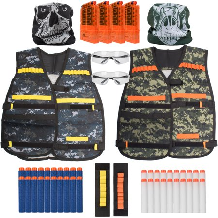 2 Kids Tactical Vest Sets with 50pk Foam Dart Supplies Accessories - 40 Darts, 2 Tactical Vests, 2 Masks, 4 Clips, 2 Safety Glasses thumbnail