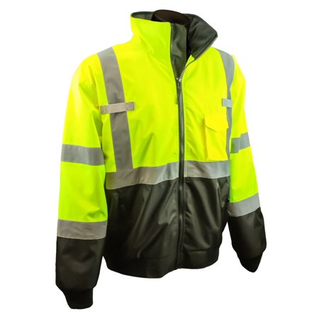 Fleece Bomber - SJ110B-3ZGS-M Class 3 Two-In-One High Visibility Bomber Safety Jacket, Medium, Lime Green, Zip out removable fleece liner with lined sleeves By Radians