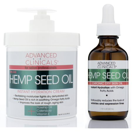 Image of Advanced Clinicals Hemp Seed Oil Set with Cold Pressed Hemp Seed Oil. Hemp Facial oil (1.8oz) and Spa Size Hemp Seed oil cream for body and face (16oz)