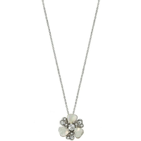 Swarovski Patina Crystal and Mother of Pearl Rhodium-Plated Flower - Rhodium Plated Flower Shape Pendant