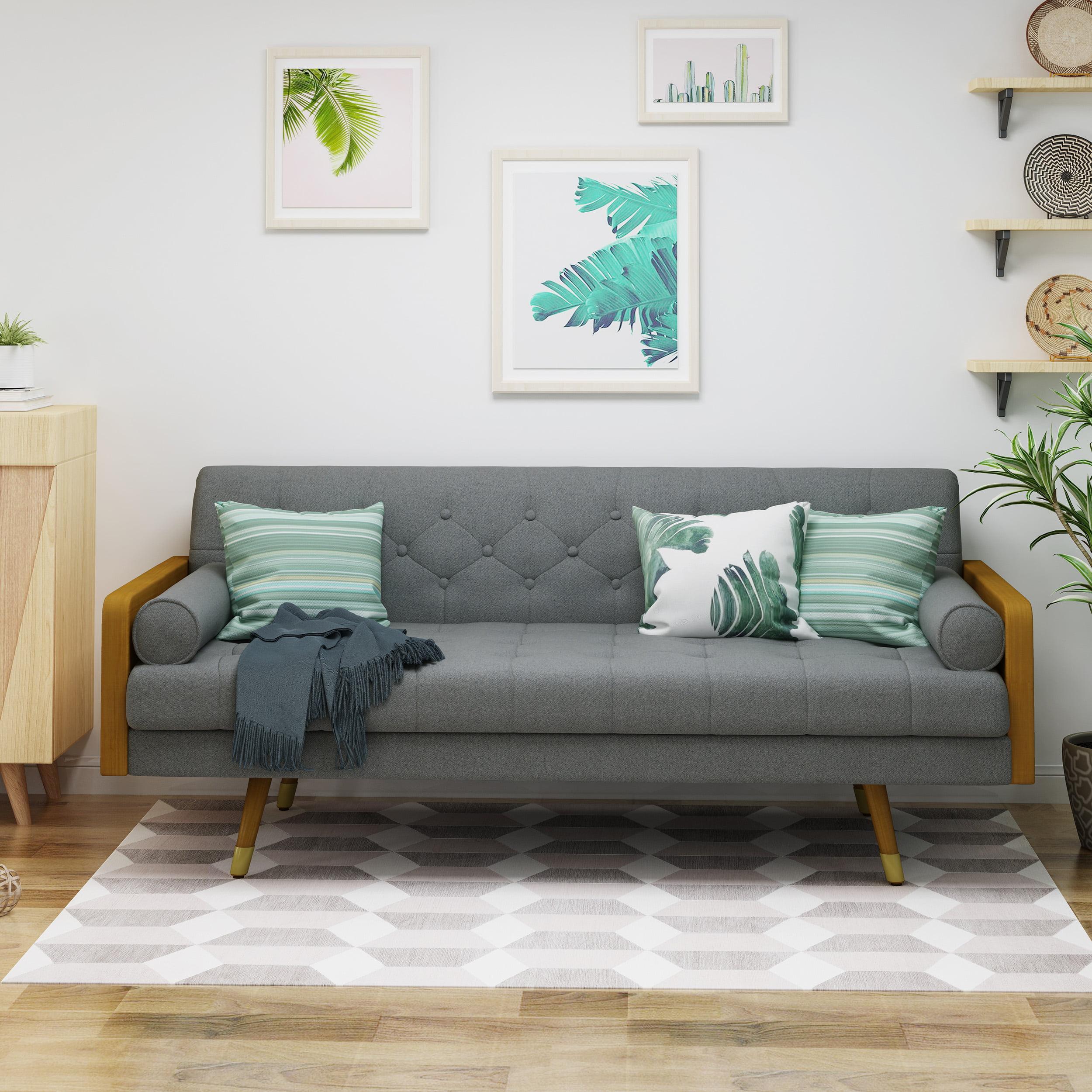 Noble House Orlando Mid Century Modern Tufted Fabric Sofa Gray
