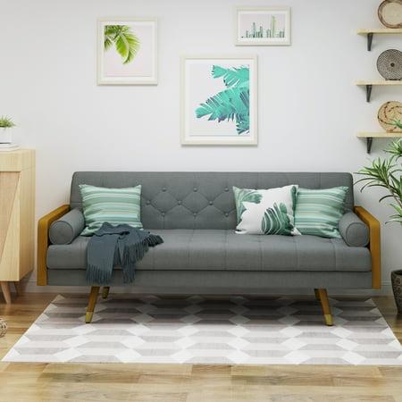Le House Orlando Mid Century Modern Tufted Fabric Sofa Gray
